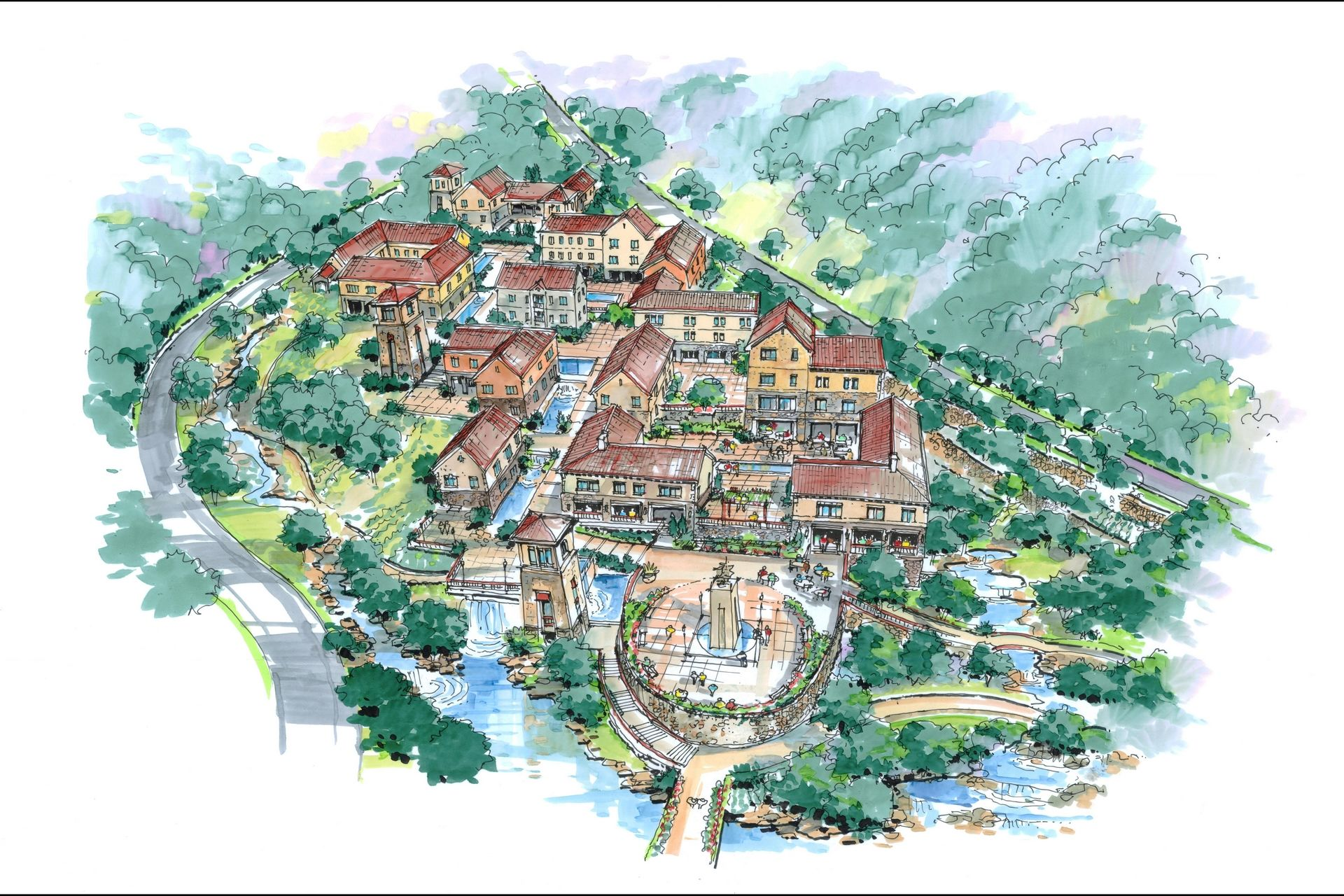 China Senior Living Design Master Plan THW Design Sketch